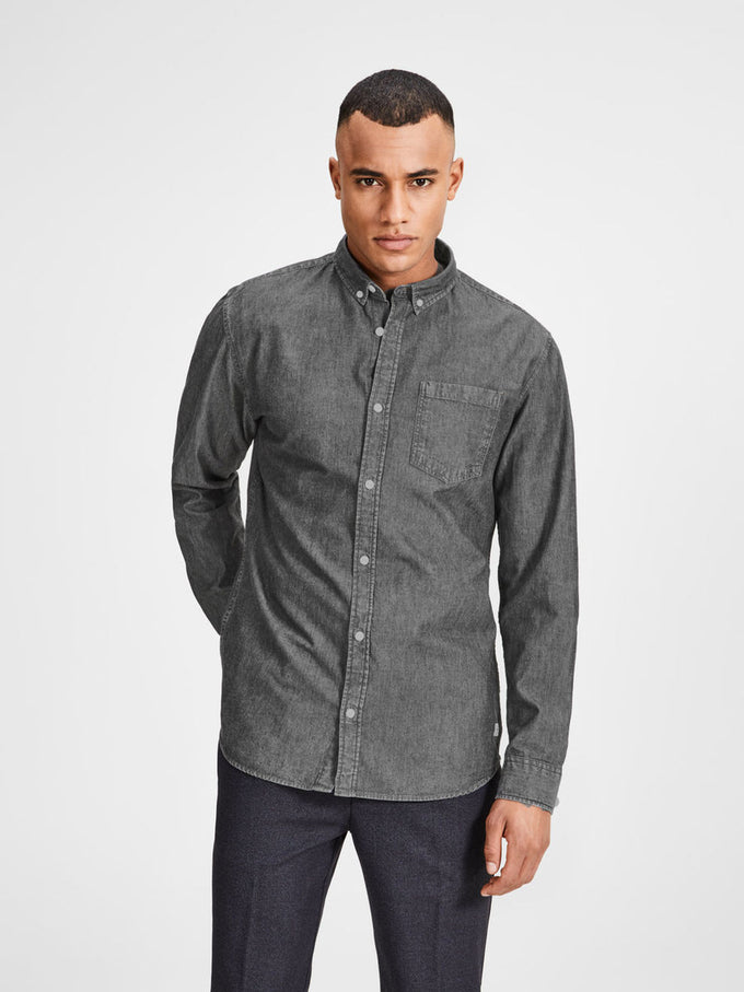 COMFORT FIT DENIM SHIRT GREY DENIM