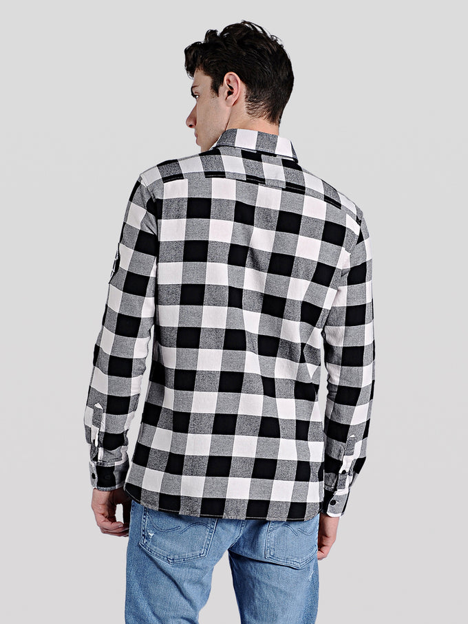 EMBROIDERED CHECKERED SHIRT WHITE