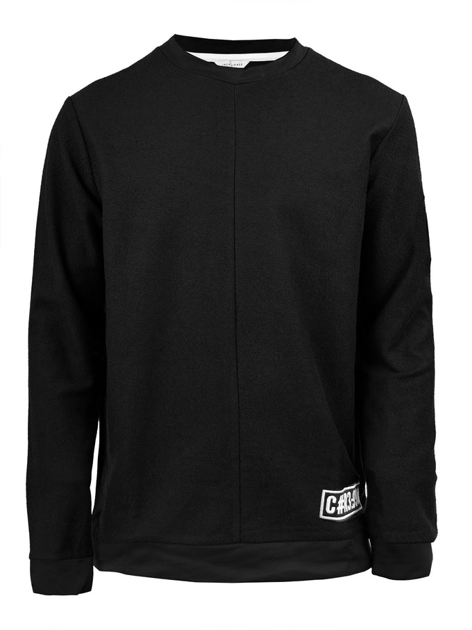 CREWNECK WITH PATCH DETAIL BLACK