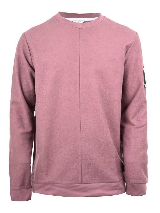CREWNECK WITH PATCH DETAIL ROSE TAUPE