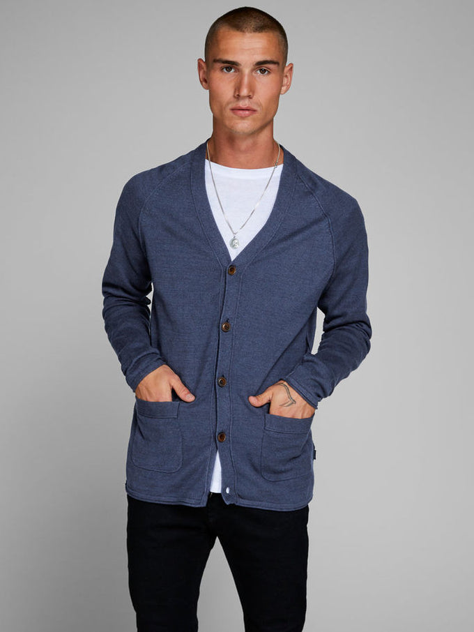 PREMIUM BUTTON-DOWN CARDIGAN NAVY BLAZER