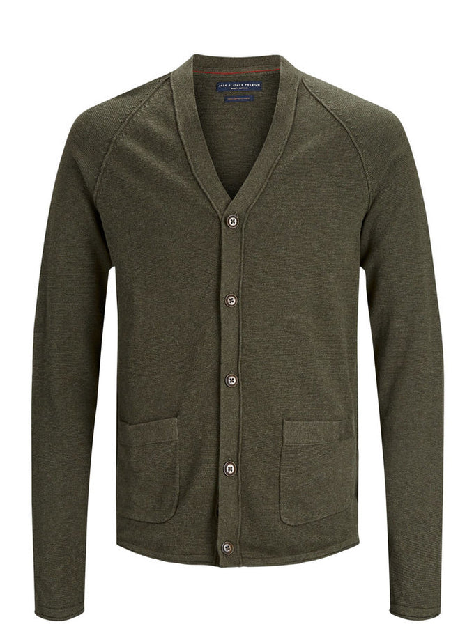 PREMIUM BUTTON-DOWN CARDIGAN OLIVE NIGHT