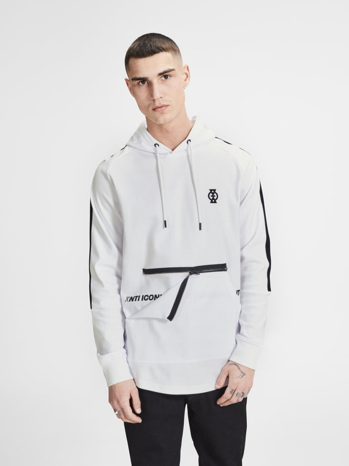 LONG FIT ZIPPED POCKET HOODIE WHITE