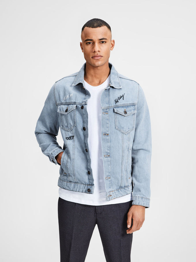 VESTE EN DENIM À DESSINS DENIM BLEU