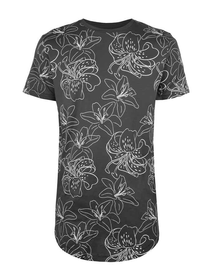 FLOWER PRINT LONG FIT T-SHIRT ASPHALT