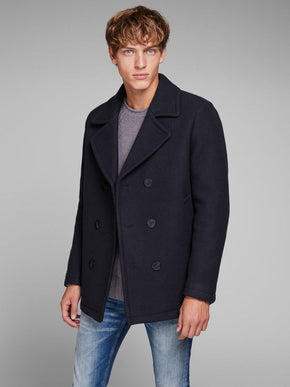 DOUBLE-BREASTED WOOL PEACOAT