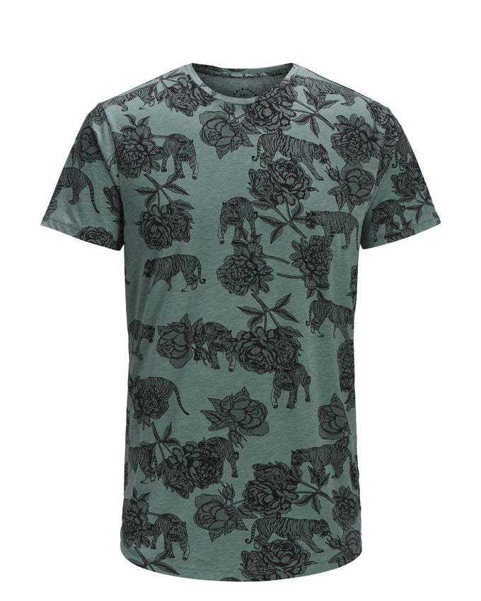 FLOWERS & TIGERS LONG FIT T-SHIRT CHINOIS GREEN