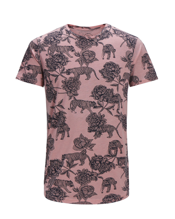 FLOWERS & TIGERS LONG FIT T-SHIRT SILVER PINK