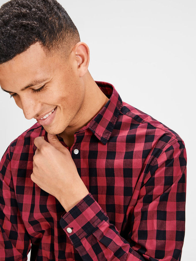 ESSENTIAL GINGHAM SHIRT BRICK RED