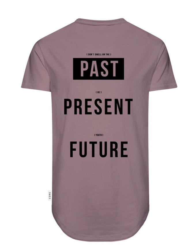 CORE PRINT LONG FIT T-SHIRT ROSE TAUPE