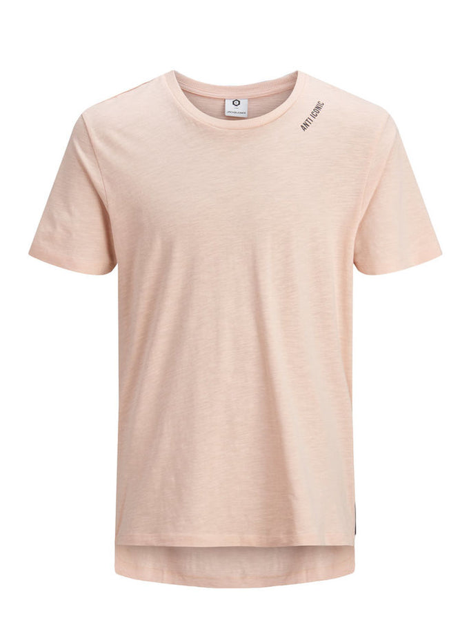 HIGH-LOW T-SHIRT WITH ZIPPED SIDE ROSE DUST