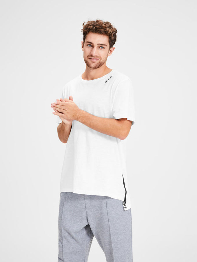 HIGH-LOW T-SHIRT WITH ZIPPED SIDE WHITE