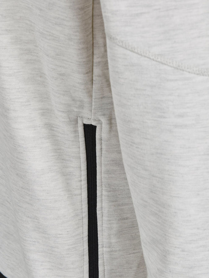 CORE SWEATSHIRT WITH ZIPPED SIDES WHITE MELANGE