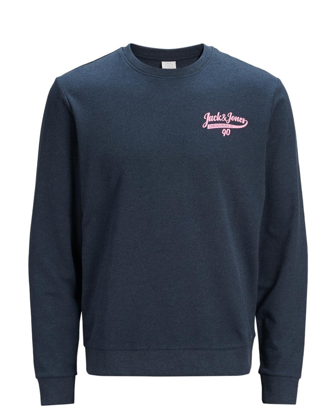 JACK & JONES LOGO CREWNECK TOTAL ECLIPSE