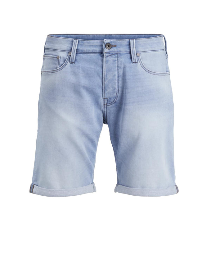 INDIGO KNIT STRETCH BLUE DENIM SHORTS BLUE DENIM