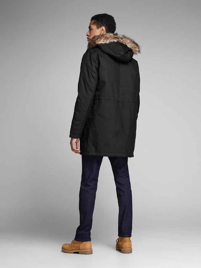 CORE PARKA WITH FAUX-FUR HOOD BLACK