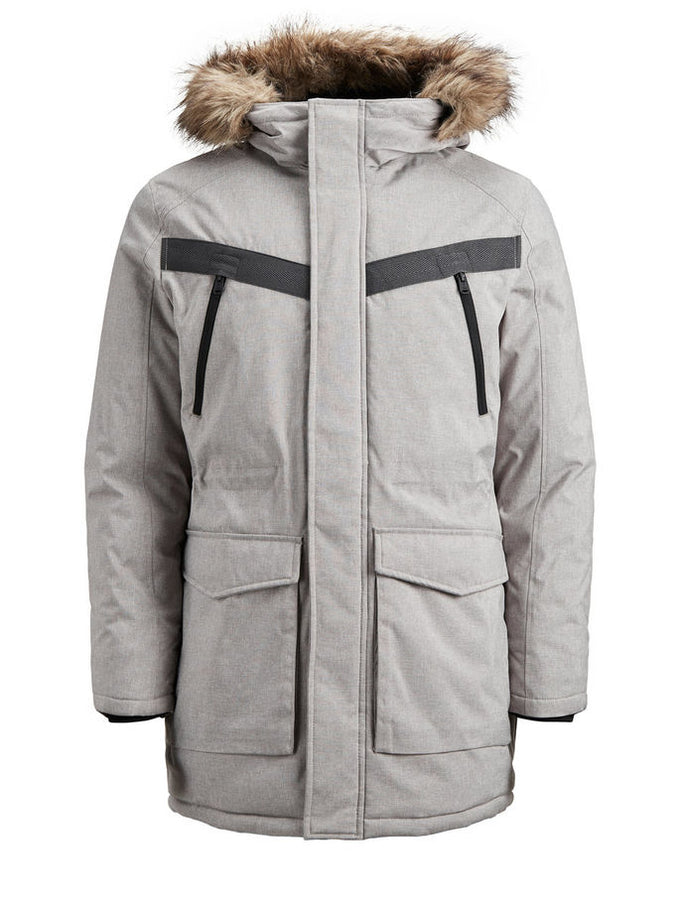 CORE PARKA WITH FAUX-FUR HOOD LIGHT GREY MELANGE