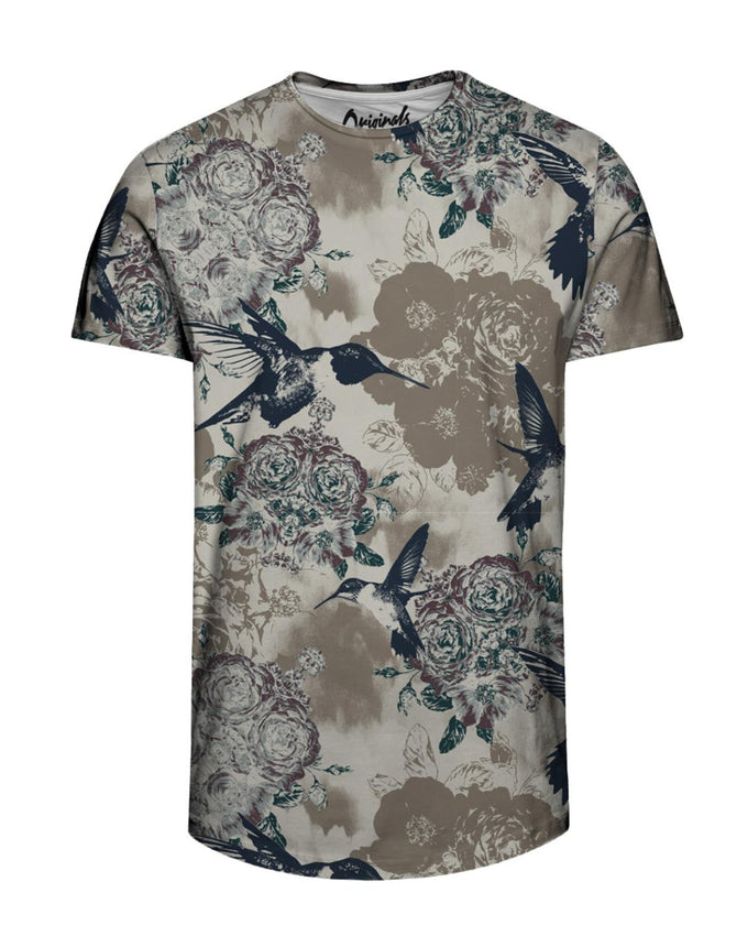 FLOWERS & BIRDS LONG FIT T-SHIRT SAFARI
