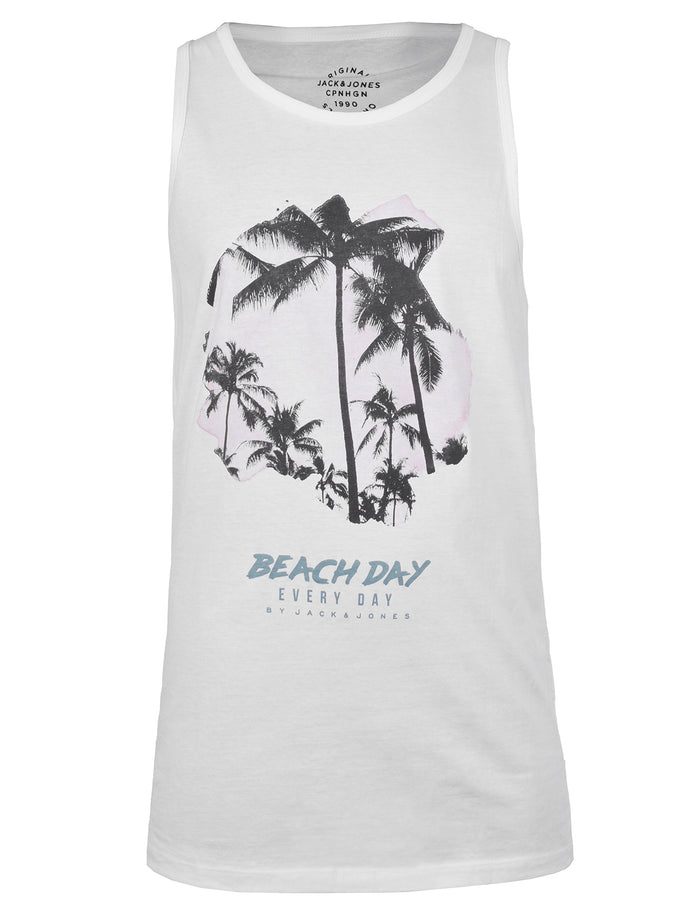 BEACH PRINT TANK TOP WHITE