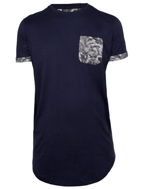 LONG FIT FLORAL POCKET T-SHIRT