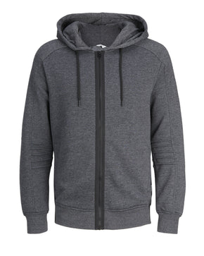 ZIP-UP HOODIE WITH RIBBED SLEEVES