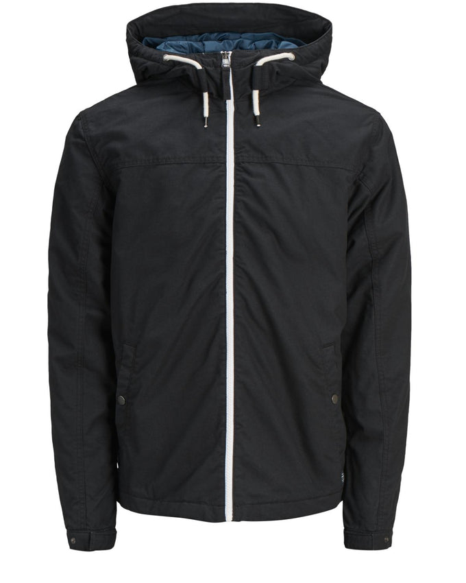 HOODED JACKET WITH QUILTED LINING BLACK