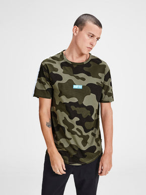 HIGH-LOW T-SHIRT WITH CAMO DETAILS