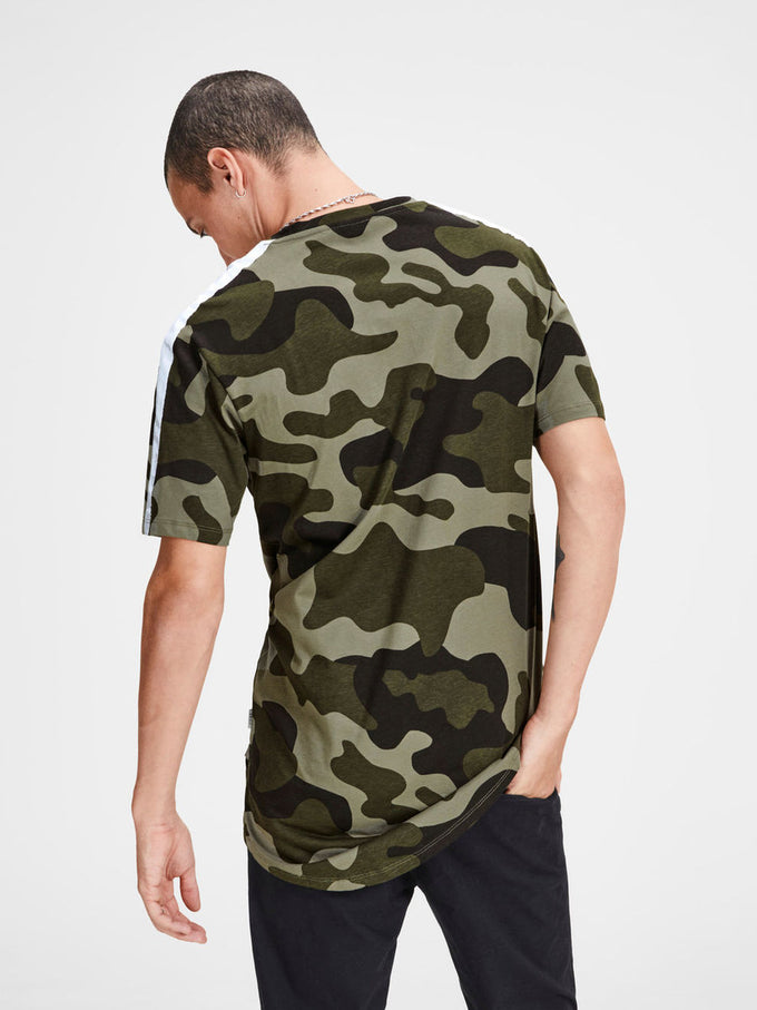 HIGH-LOW T-SHIRT WITH CAMO DETAILS GRAPE LEAF