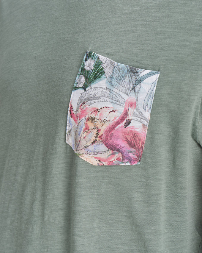 FLORAL POCKET T-SHIRT CHINOIS GREEN