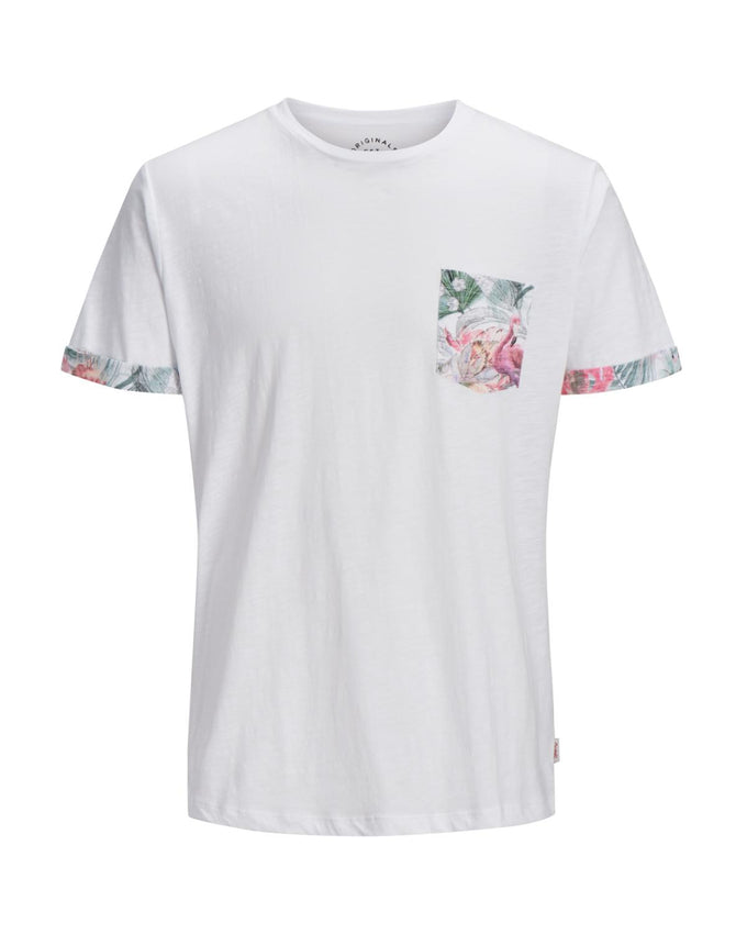 FLORAL POCKET T-SHIRT CLOUD DANCER