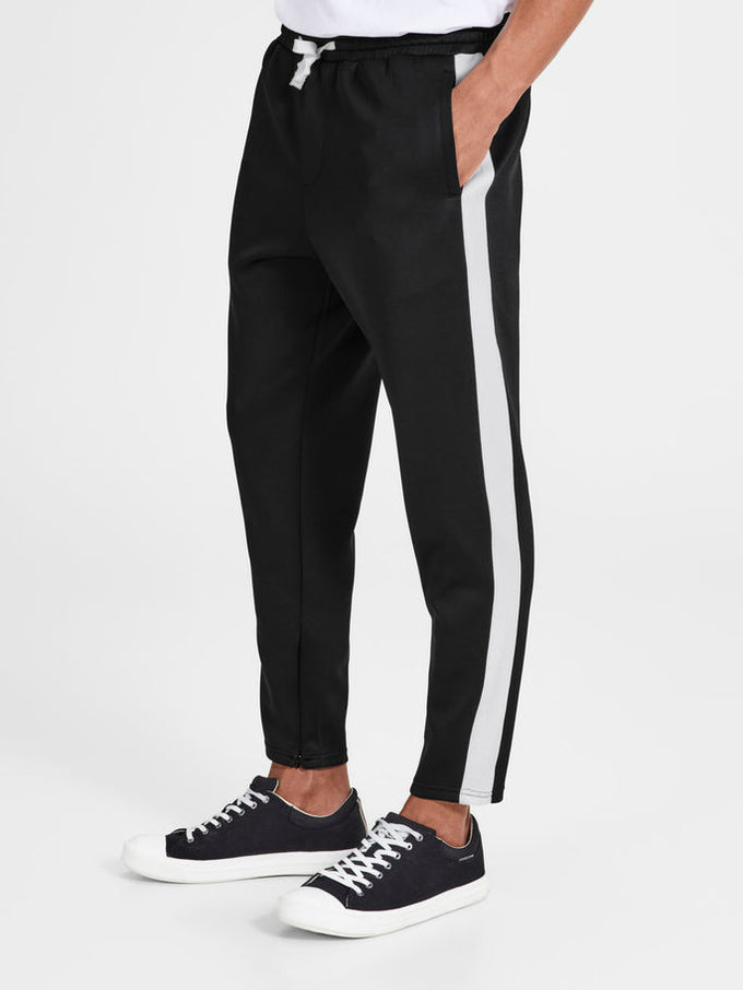 43ca0f68 ATHLETIC STYLE STRIPED JOGGERS | BLACK