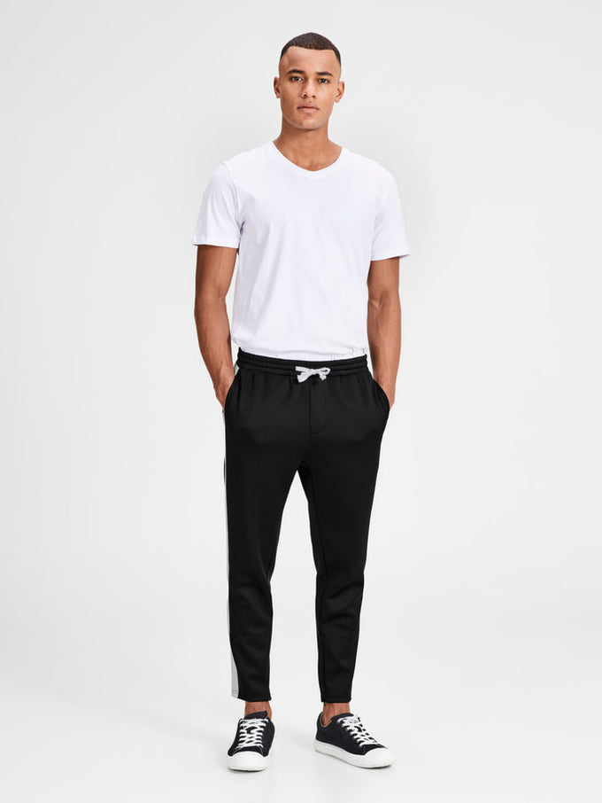 ATHLETIC STYLE STRIPED JOGGERS BLACK