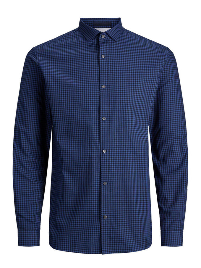 ESSENTIAL GINGHAM SHIRT NAVY BLAZER