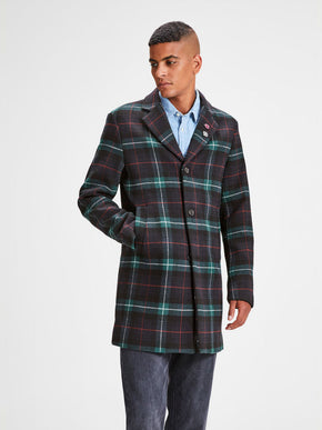 CHECKERED WOOL DRESS COAT