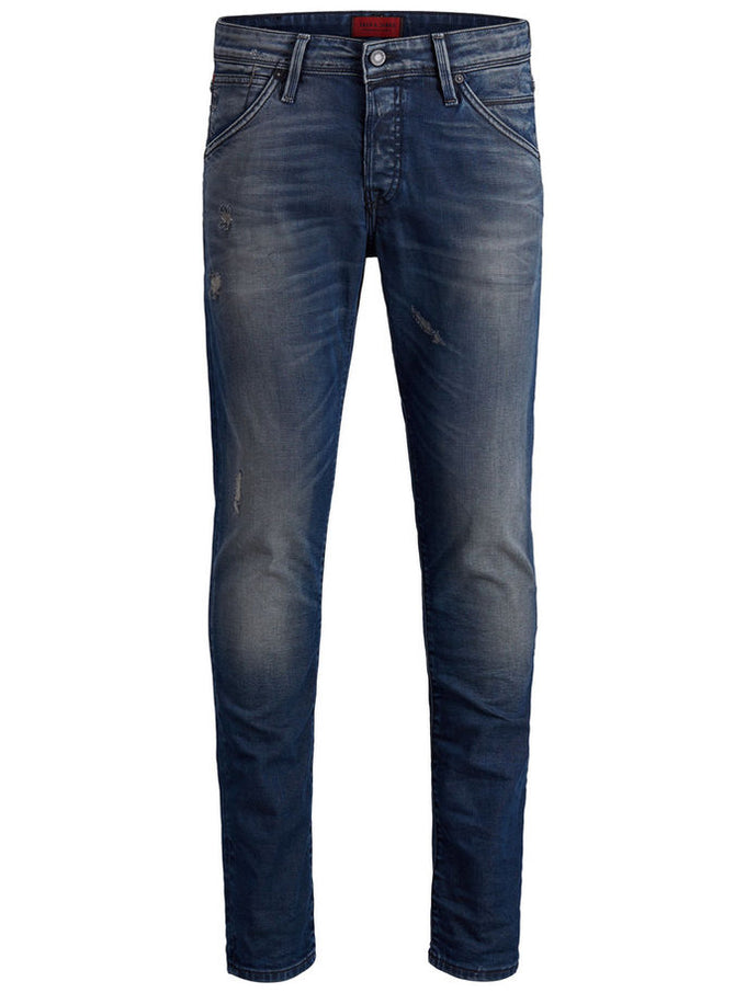 SLIM FIT GLENN 820 JEANS WITH USED DETAILS BLUE DENIM