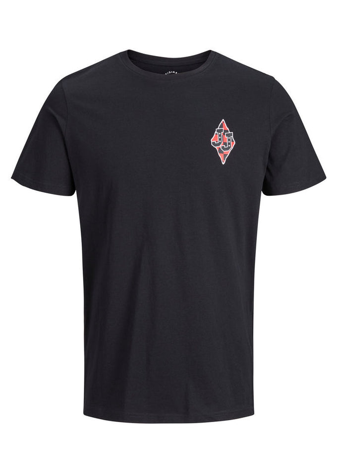 ORIGINALS T-SHIRT WITH CHECKERED DETAILS BLACK