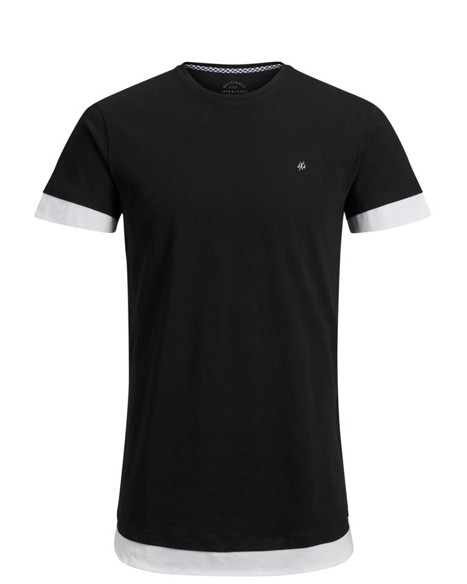LONG FIT T-SHIRT WITH LAYERED DETAILS BLACK