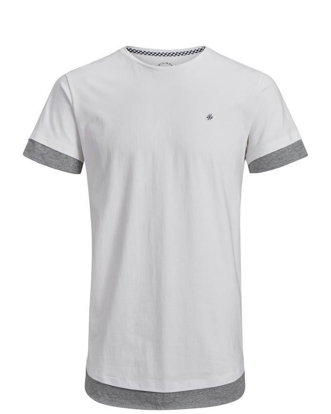 LONG FIT T-SHIRT WITH LAYERED DETAILS WHITE