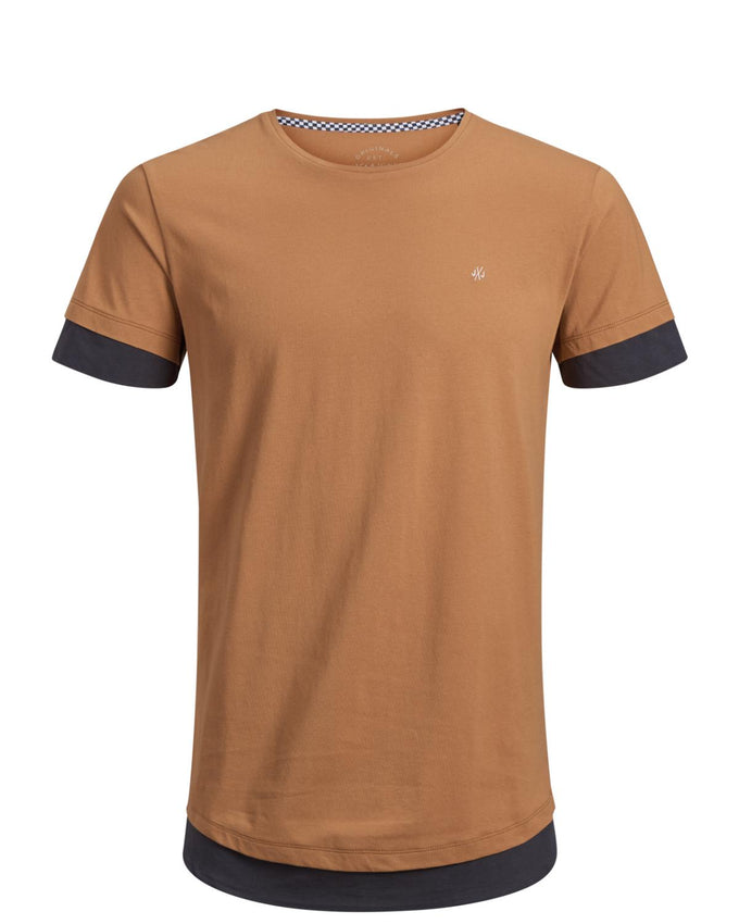 LONG FIT T-SHIRT WITH LAYERED DETAILS MEERKAT