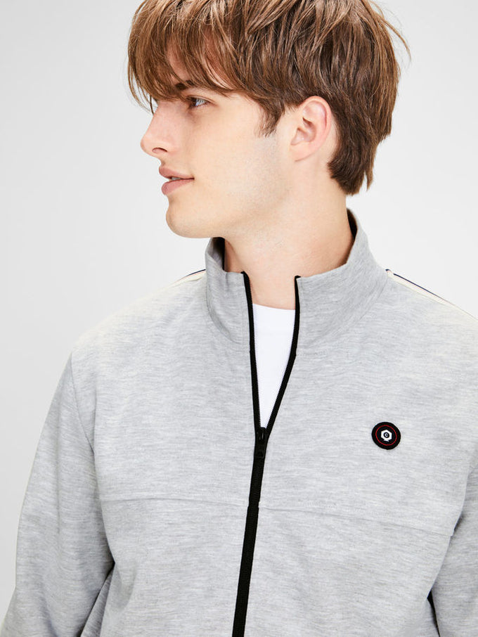 CORE STRIPED TRACK JACKET LIGHT GREY MELANGE