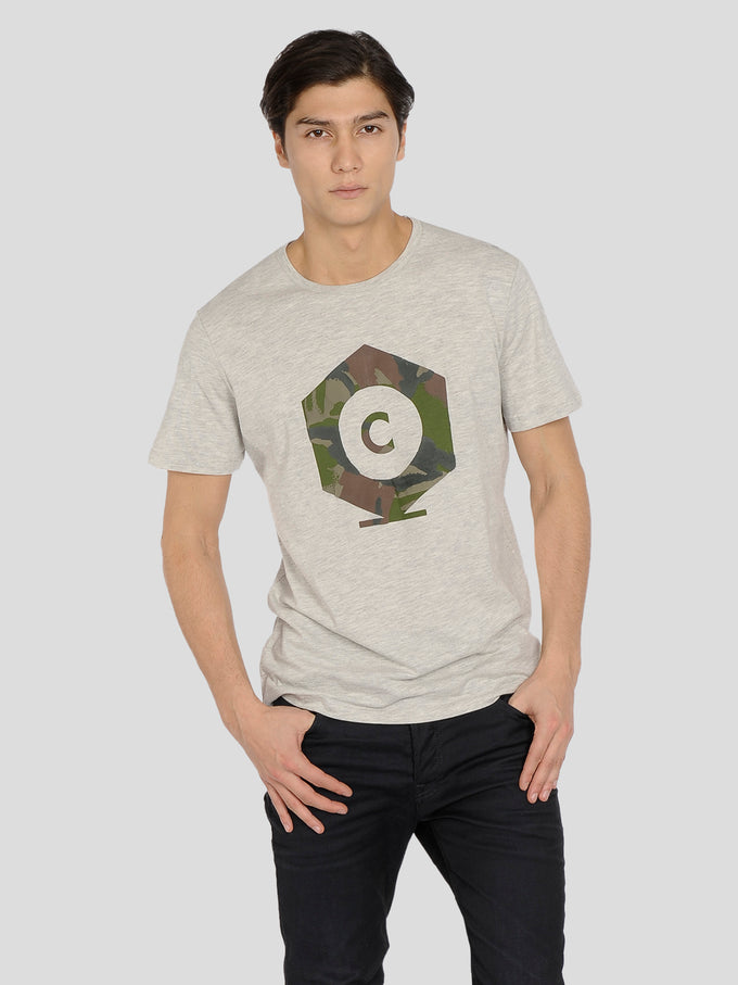 CORE T-SHIRT WITH CAMO PRINT LIGHT GREY MELANGE