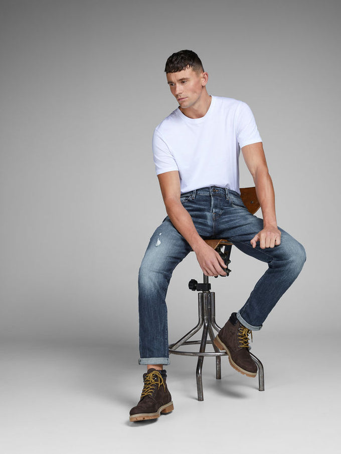 FRED 109 TAPERED FIT JEANS BLUE DENIM