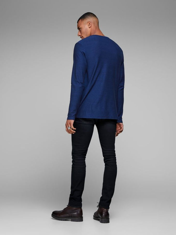 LIGHT HENLEY T-SHIRT BLUE DENIM