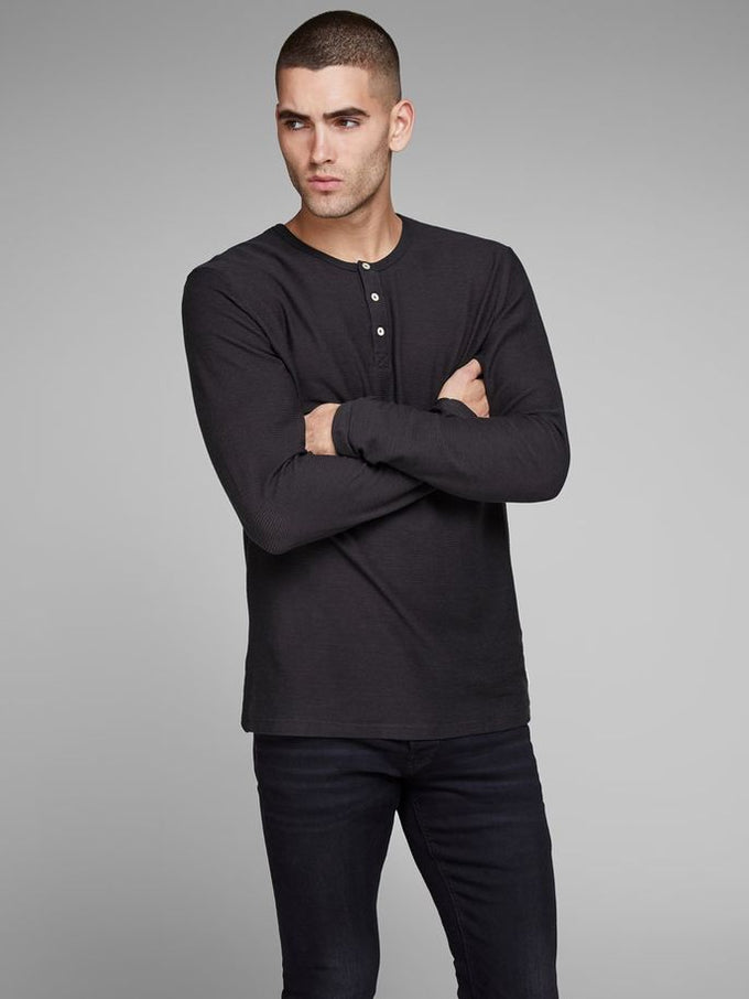 LIGHT HENLEY T-SHIRT CAVIAR