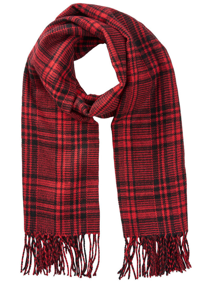 CHECKERED SCARF FIERY RED