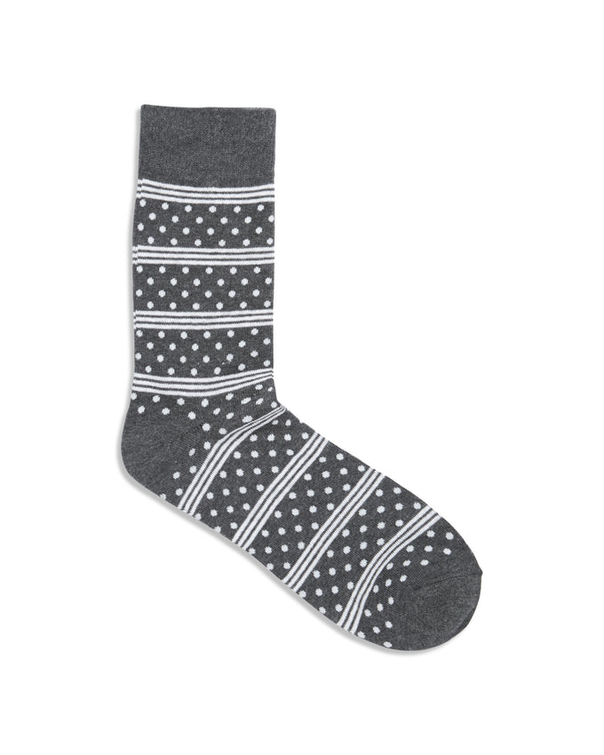 DOT & STRIPES PATTERN SOCKS DARK GREY MELANGE