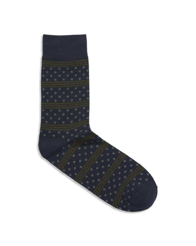 DOT & STRIPES PATTERN SOCKS FOREST NIGHT