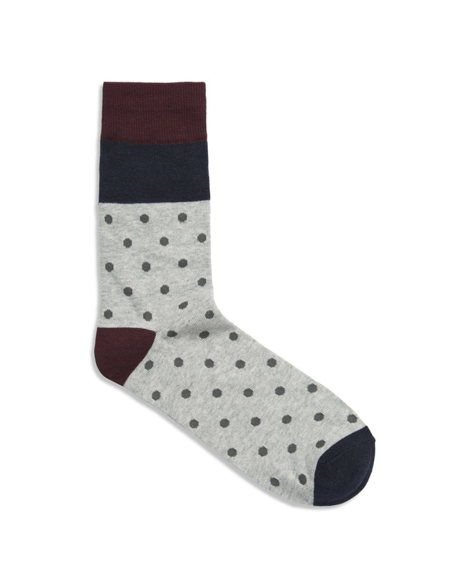 DOT & STRIPES PATTERN SOCKS LIGHT GREY MELANGE