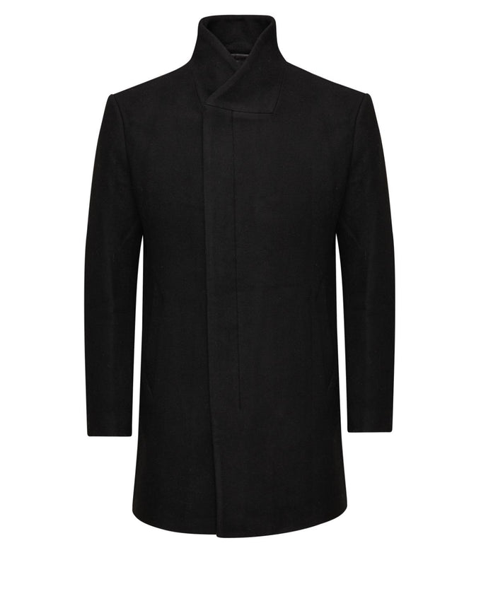WOOL COAT WITH ASYMMETRIC COLLAR BLACK