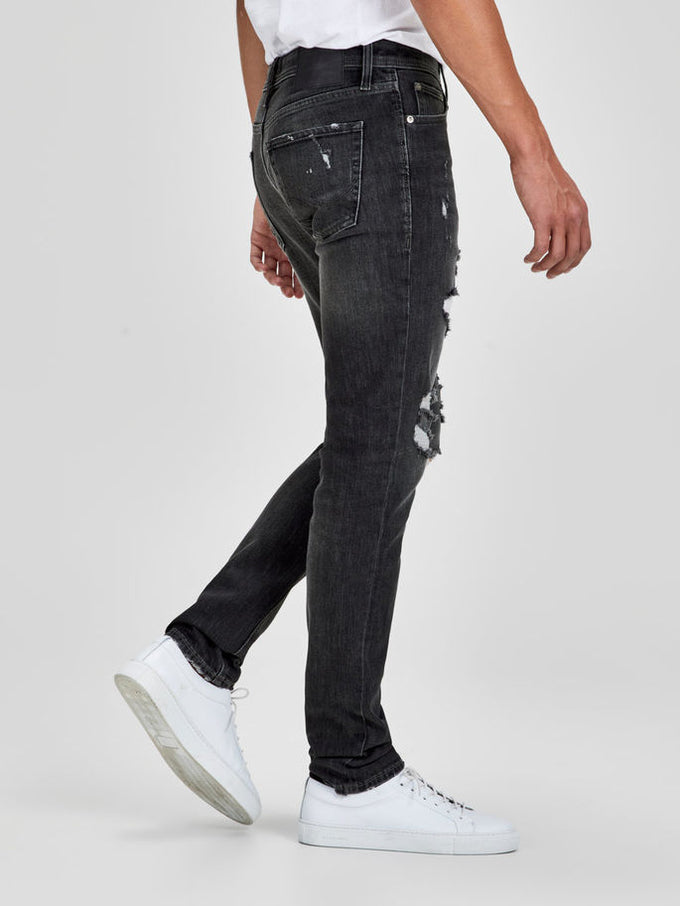 SLIM FIT GLENN 749 JEANS WITH USED DETAILS BLACK DENIM